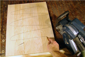 Pencil markings show areas that need to be sanded