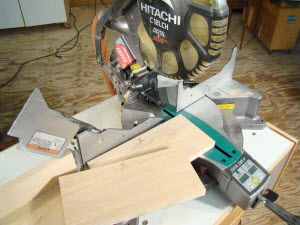 Prepare test stock when setting up a miter saw