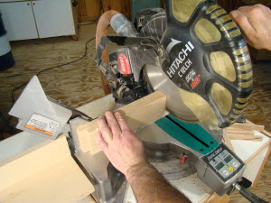 Checking the bevel on a miter saw