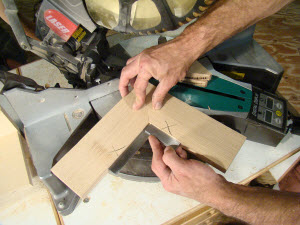 Checking 45-degree cuts on a miter saw