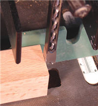 Orient the hollow chisel on a mortising machine