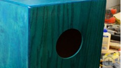 This is an image of a sound hole in a cajon drum