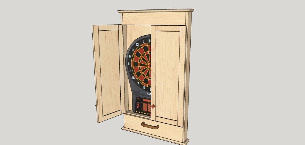 SketchUp Guide for Woodworkers - Dart Board Cabinet Drawing